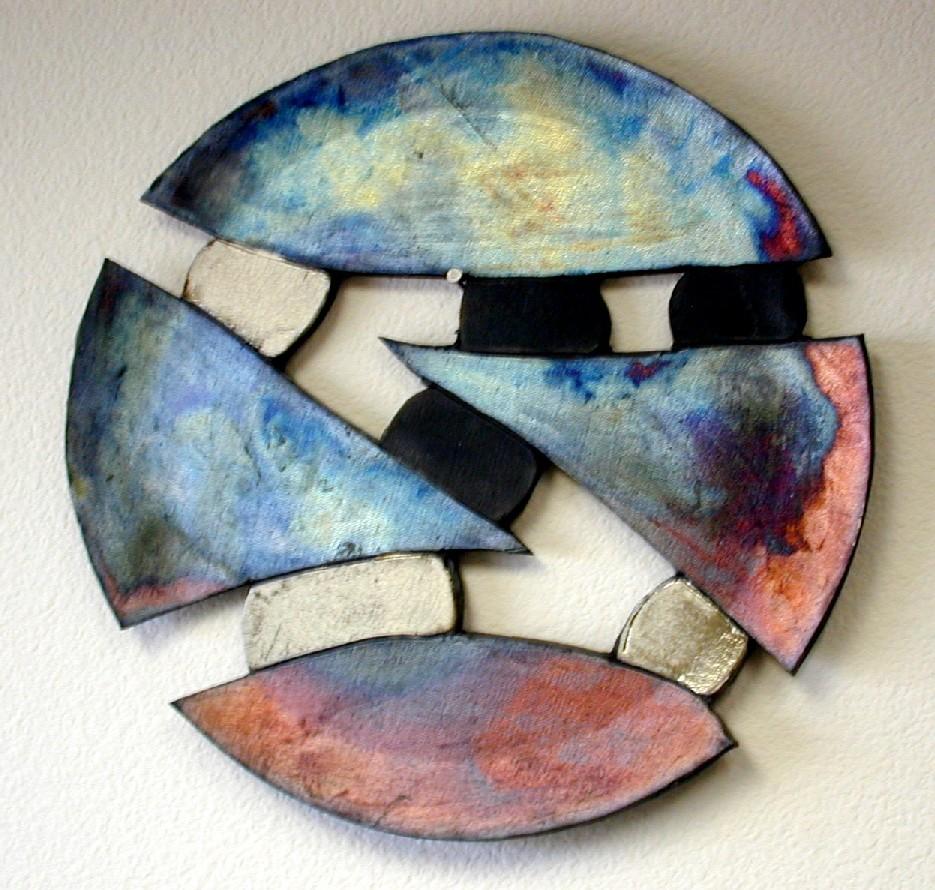 Shards IV - Wall Art Hawaiian Blue u0026 Clear Crackle 14 inches & Raku Wall Art - Ceramic Raku Gallery - Gary R. Ferguson